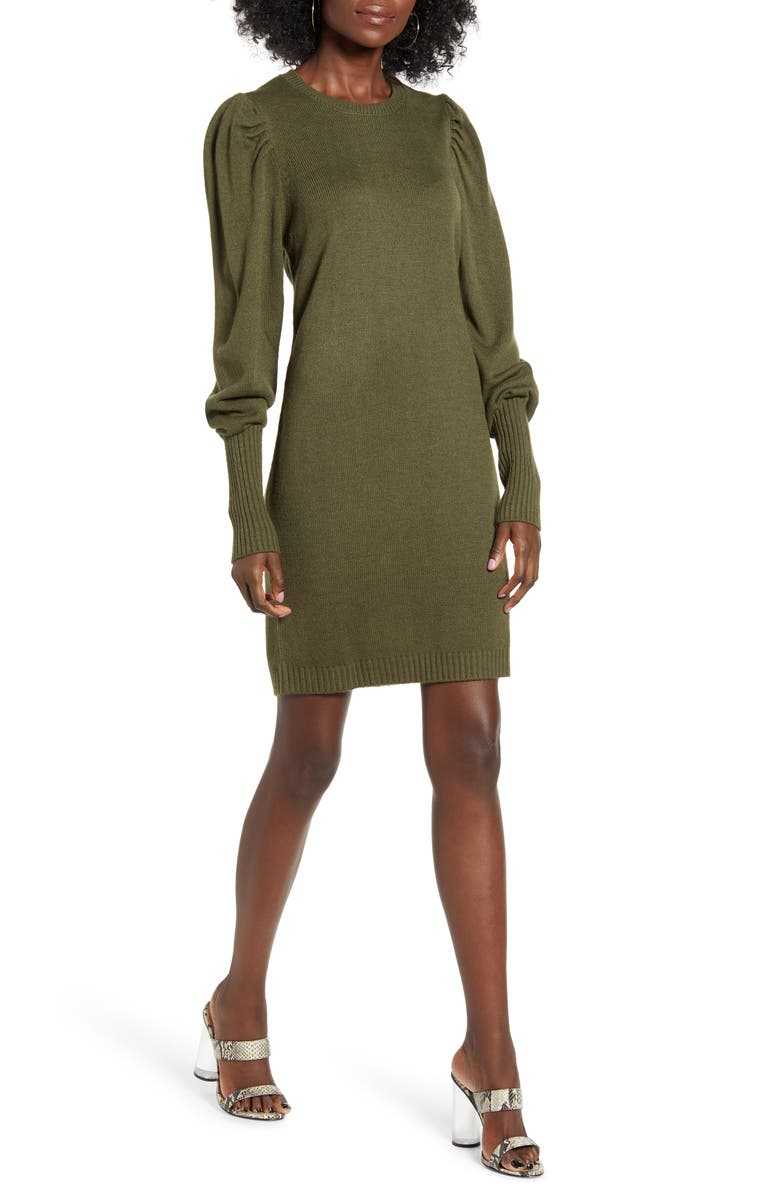 WAYF x Influencers San Francisco Puff Sleeve Sweater Dress, Main, color, OLIVE