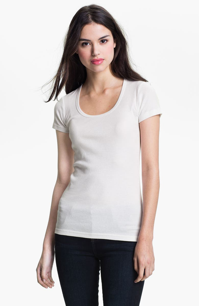 CASLON<SUP>®</SUP> Short Sleeve Scoop Neck Tee, Main, color, WHITE