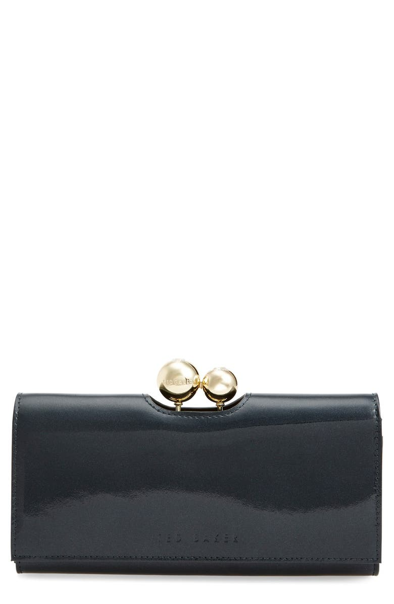 TED BAKER LONDON Pearlized Patent Leather Matinee Wallet, Main, color, 300