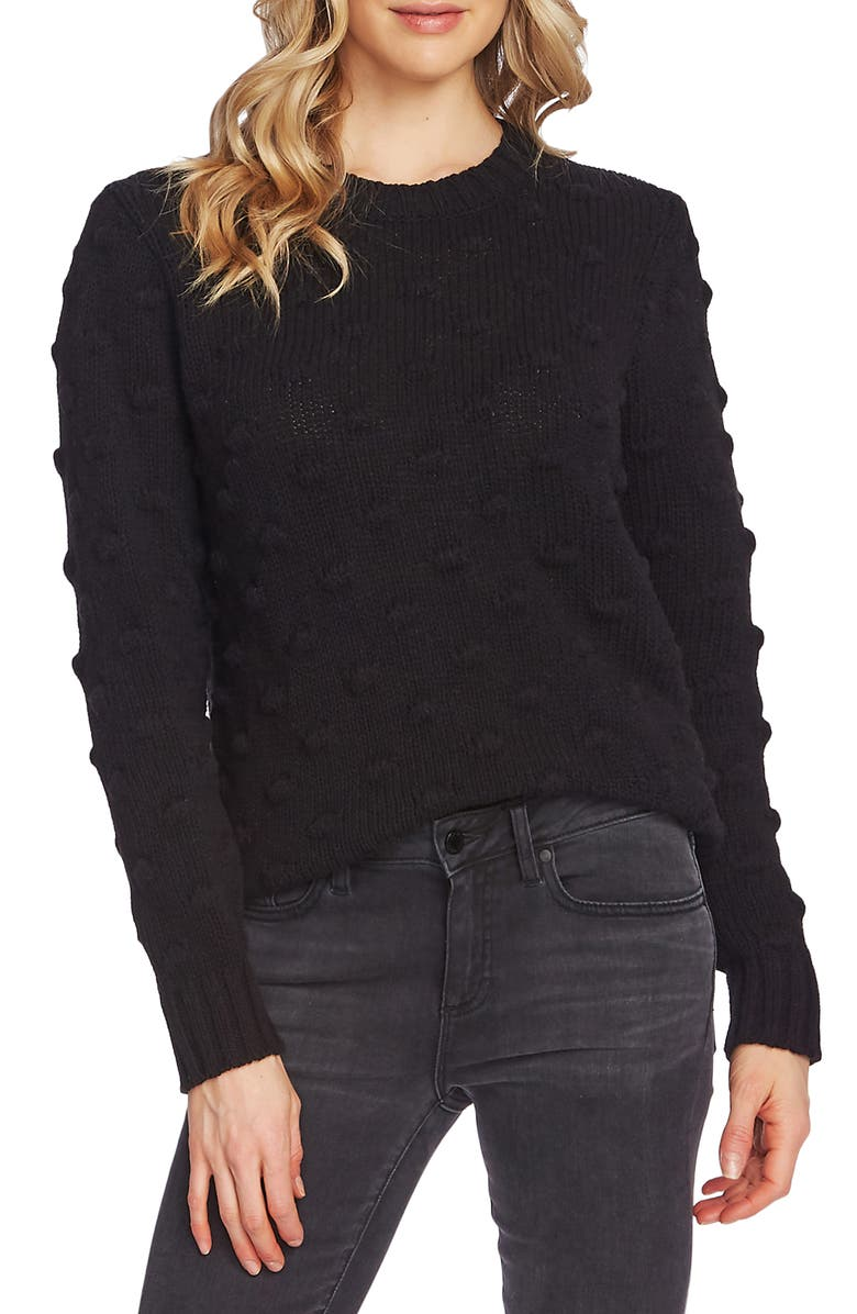 VINCE CAMUTO Cotton Popcorn Sweater, Main, color, RICH BLACK