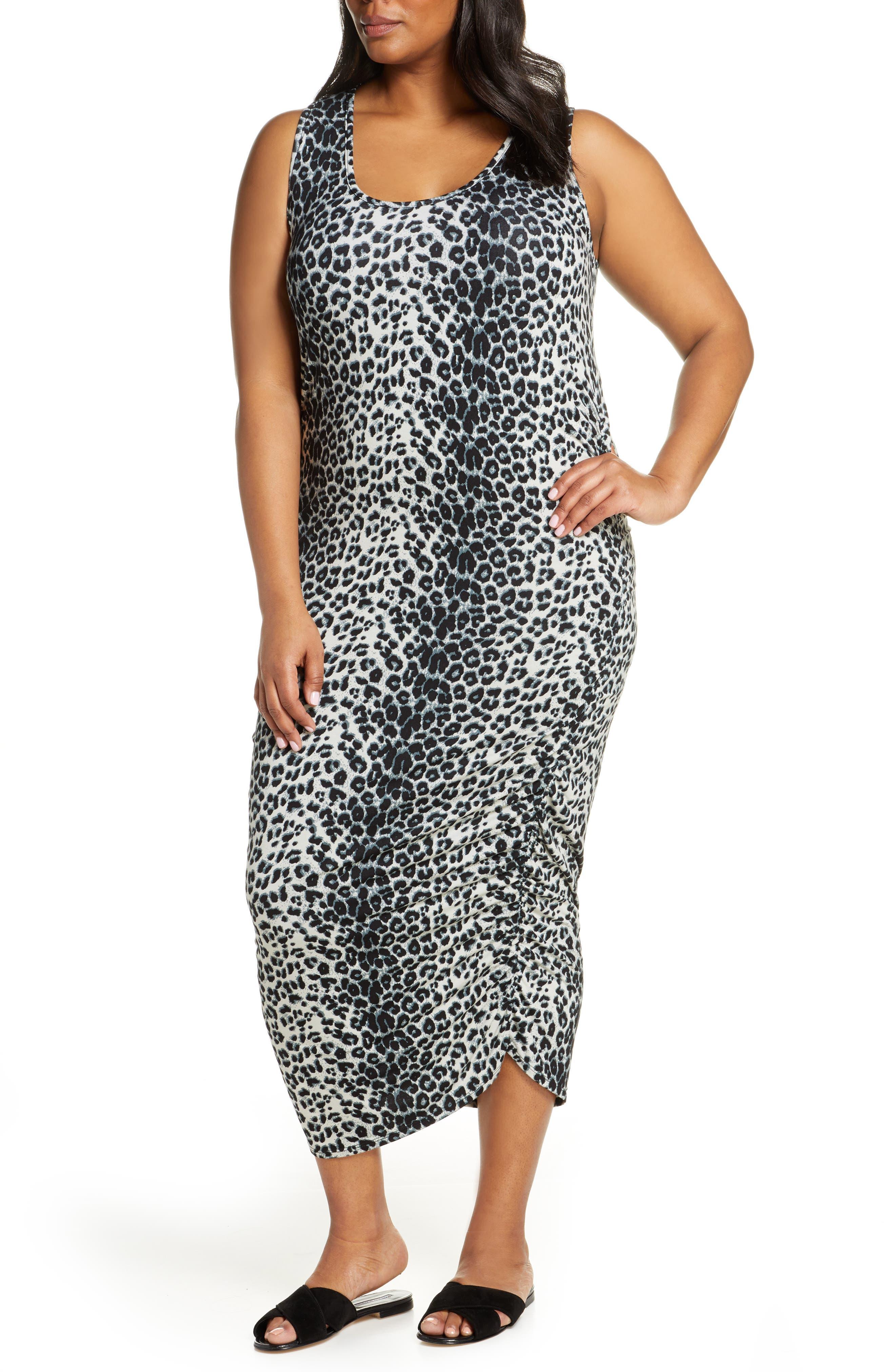 Plus Size Loveappella Ruched Midi Tank Dress, Grey