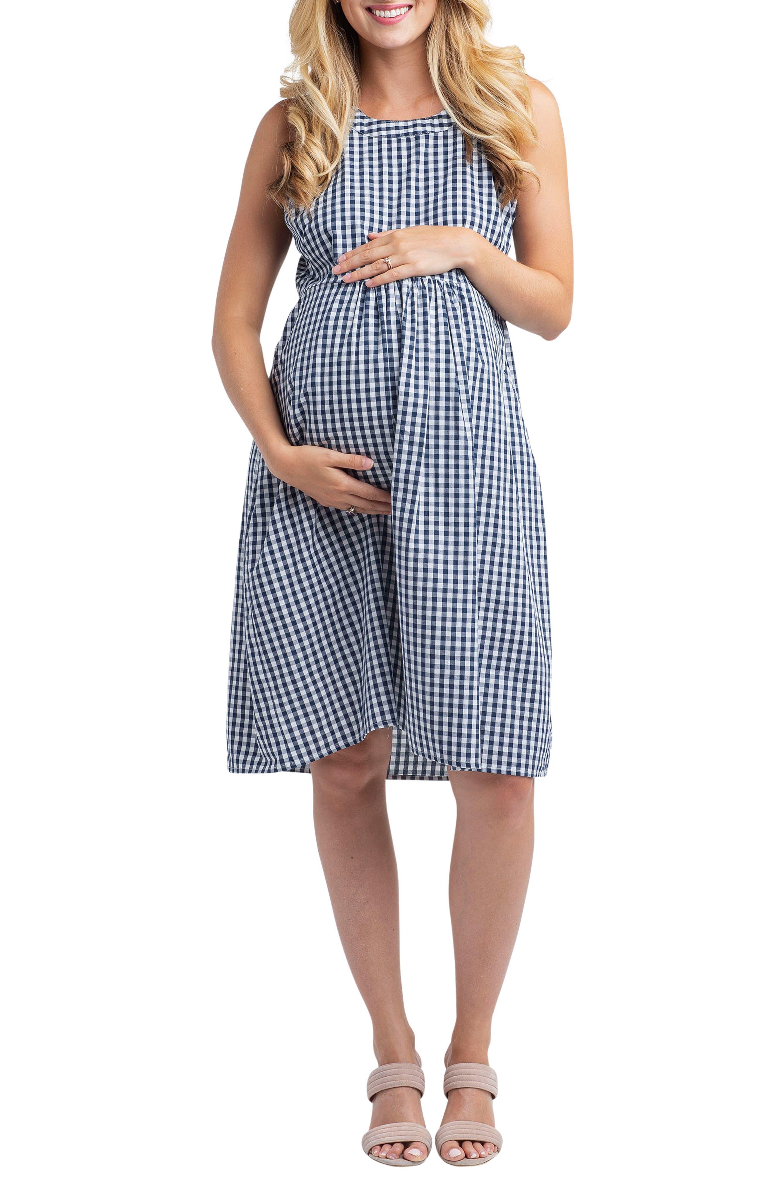 Nom Maternity Molly Gingham Maternity Dress, None