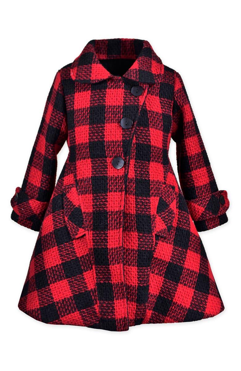 WIDGEON Check Fit & Flare Coat, Main, color, 600