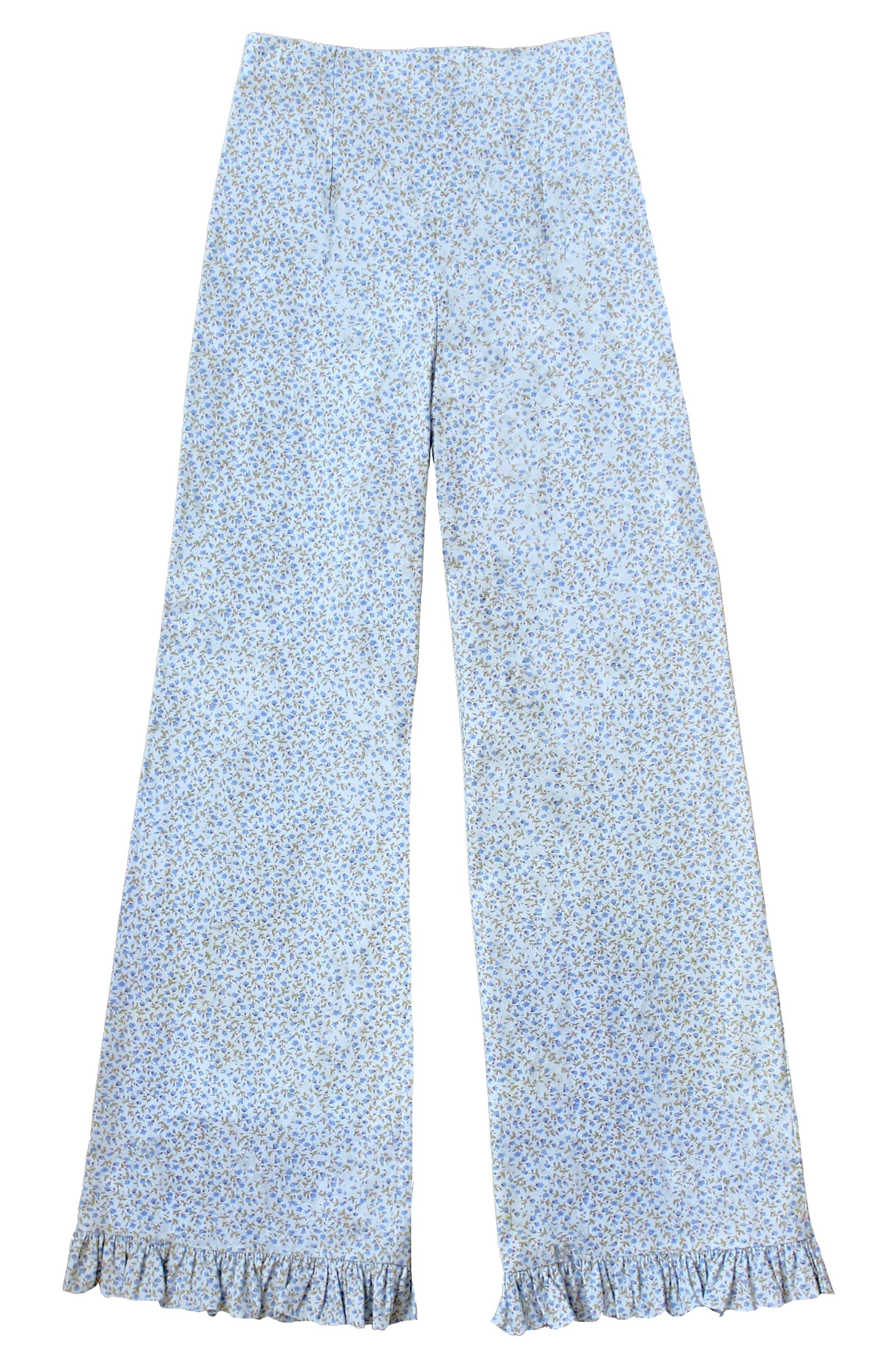 Ruffle Hem Crop Pants