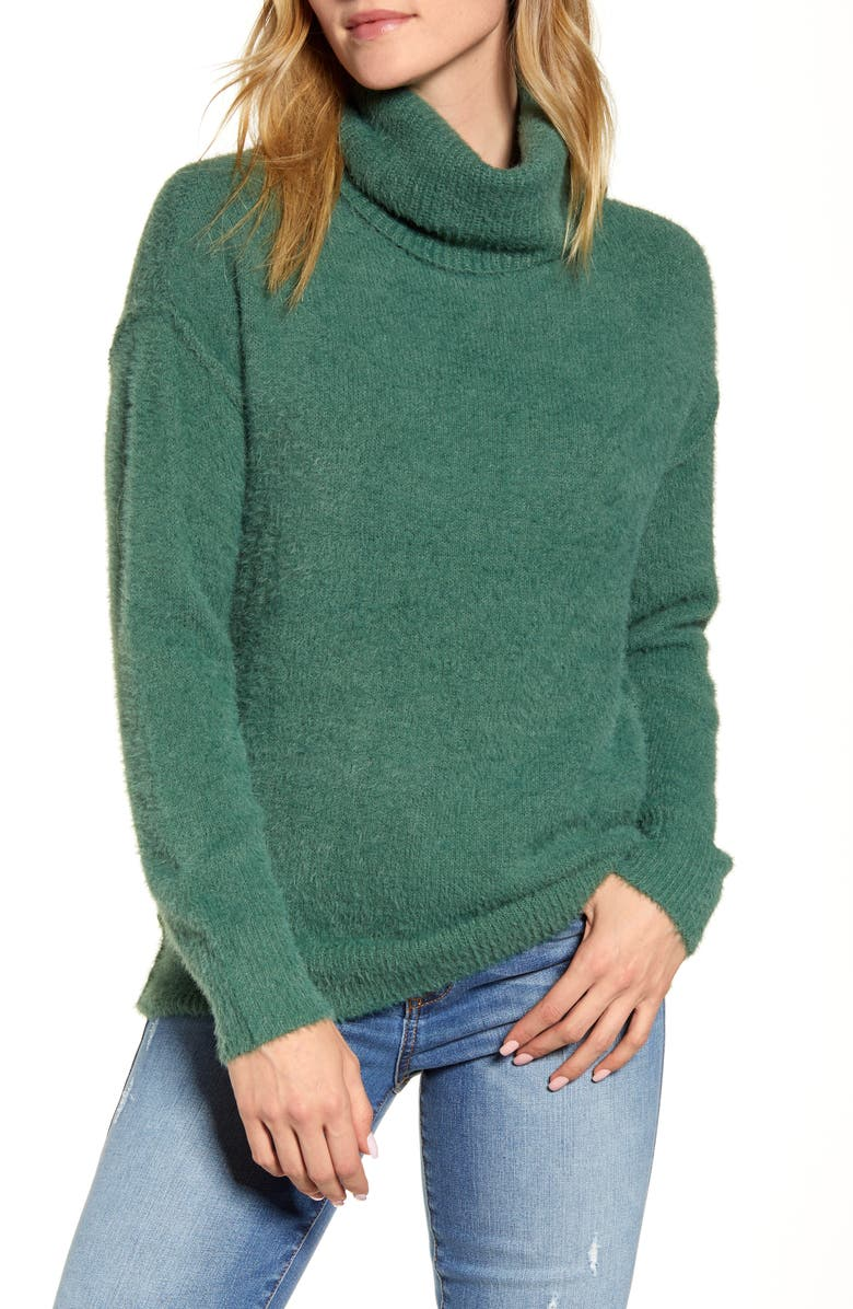 CASLON<SUP>®</SUP> Turtleneck Sweater, Main, color, GREEN SMOKE
