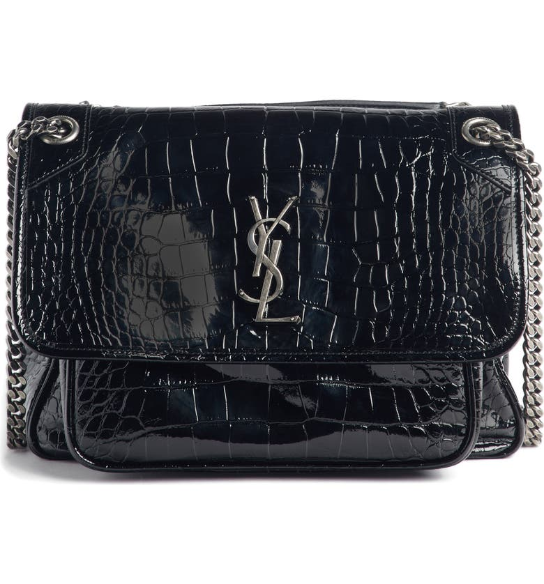 Saint Laurent Medium Niki Croc Embossed Shoulder Bag