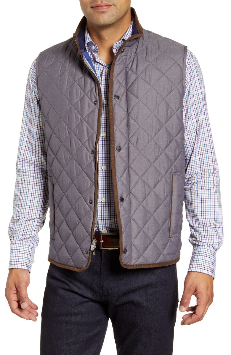 PETER MILLAR Essex Quilted Vest, Main, color, SMOKE