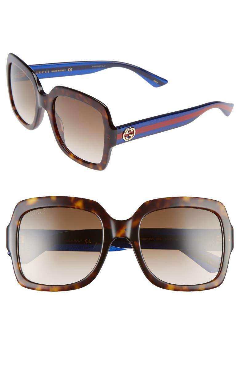 GUCCI 54mm Square Sunglasses, Main, color, 200