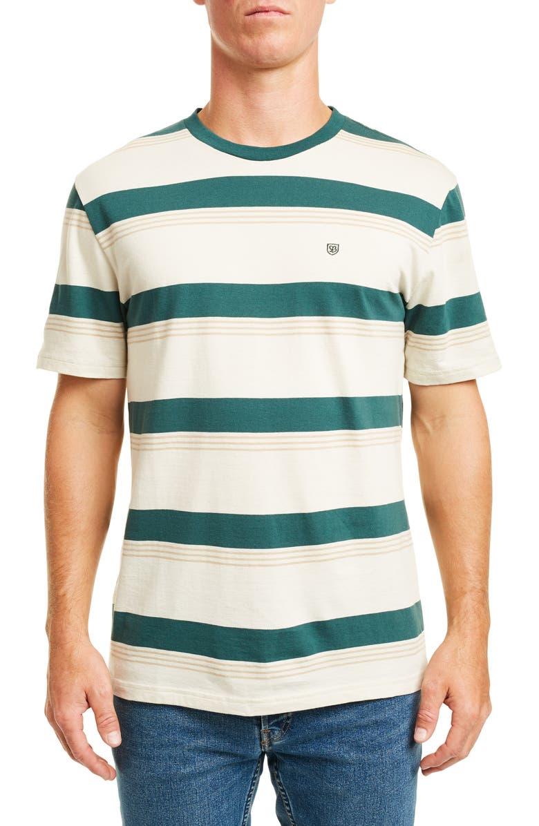 BRIXTON Hilt Stripe T-Shirt, Main, color, EMERALD