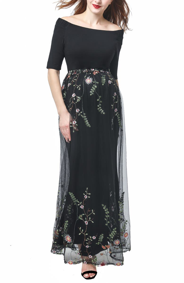 KIMI AND KAI Willow Off the Shoulder Maternity Gown, Main, color, BLACK