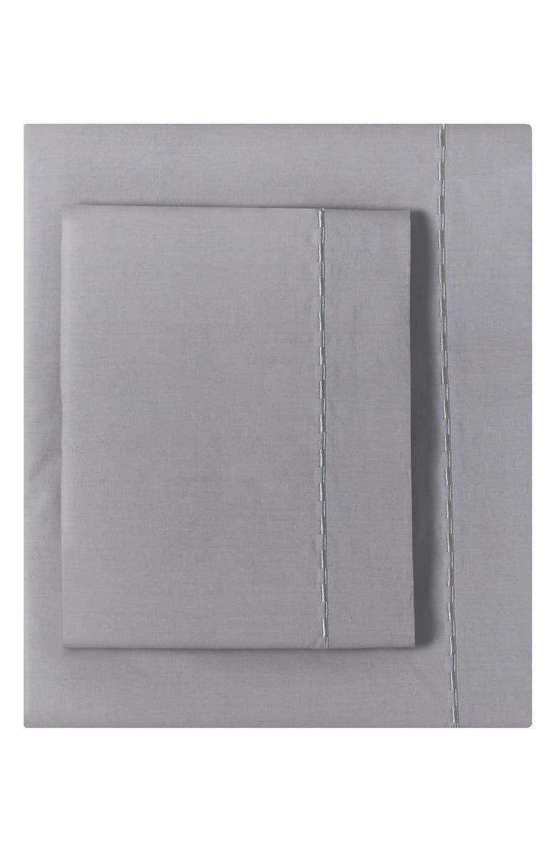 Cotton Percale Sheet Set Main Color Grey Blue
