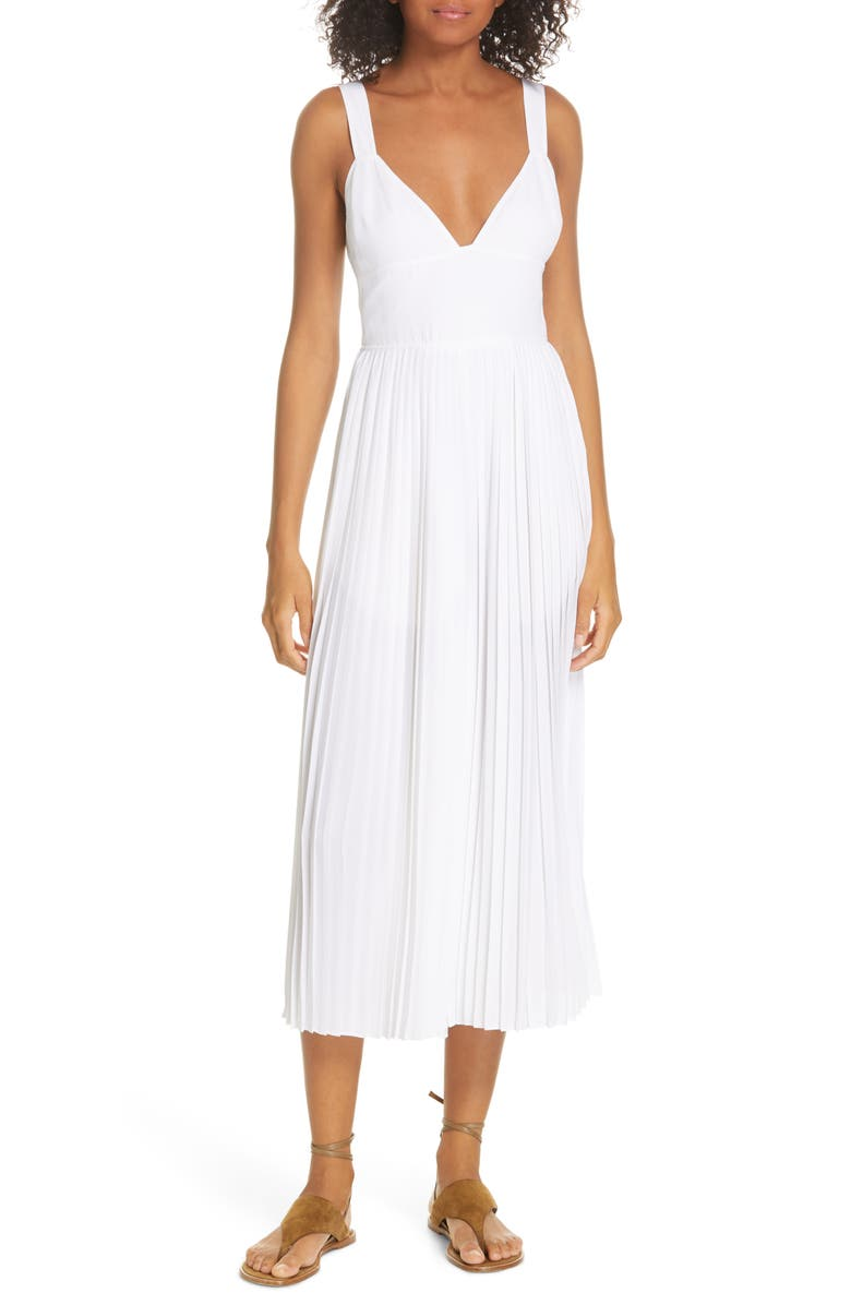 VINCE Pleated Jumpsuit, Main, color, OPTIC WHITE