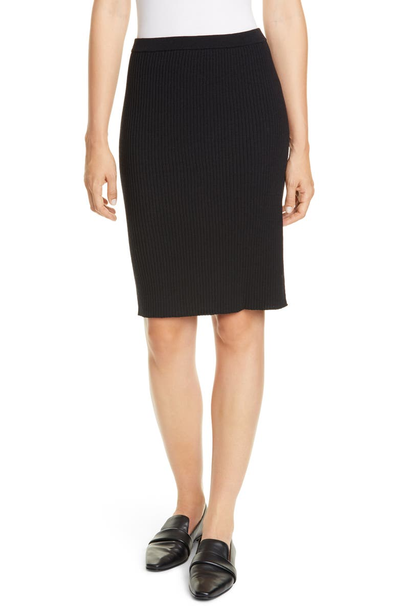EILEEN FISHER Ribbed Wool Skirt, Main, color, BLACK