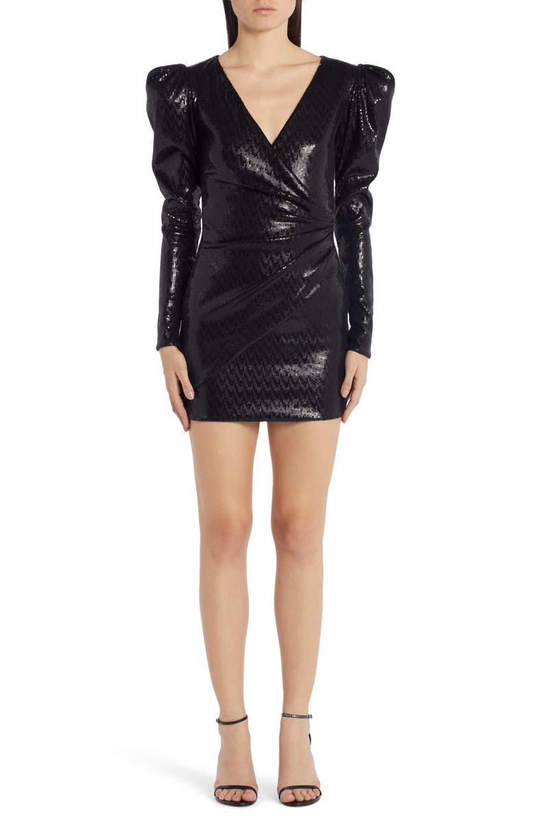 VERSACE Puff Shoulder Sequin Long Sleeve Minidress, Main, color, BLACK