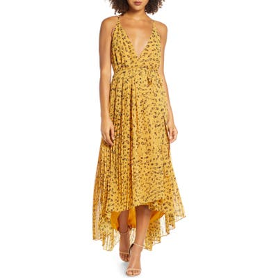 Fame And Partners Leopard Print Wrap Dress, Yellow