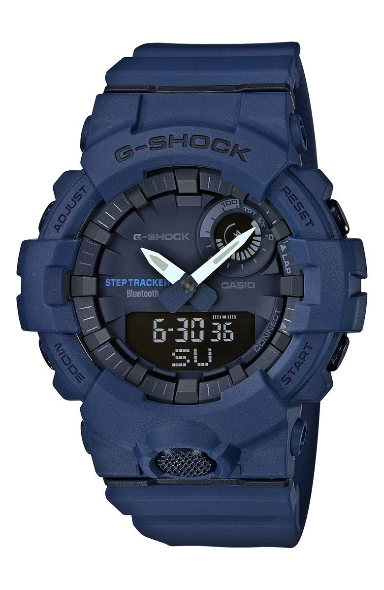 G-SHOCK BABY-G G-Shock Steptracker Bluetooth<sup>®</sup> Enabled Resin Strap Watch, 49mm, Main, color, NAVY