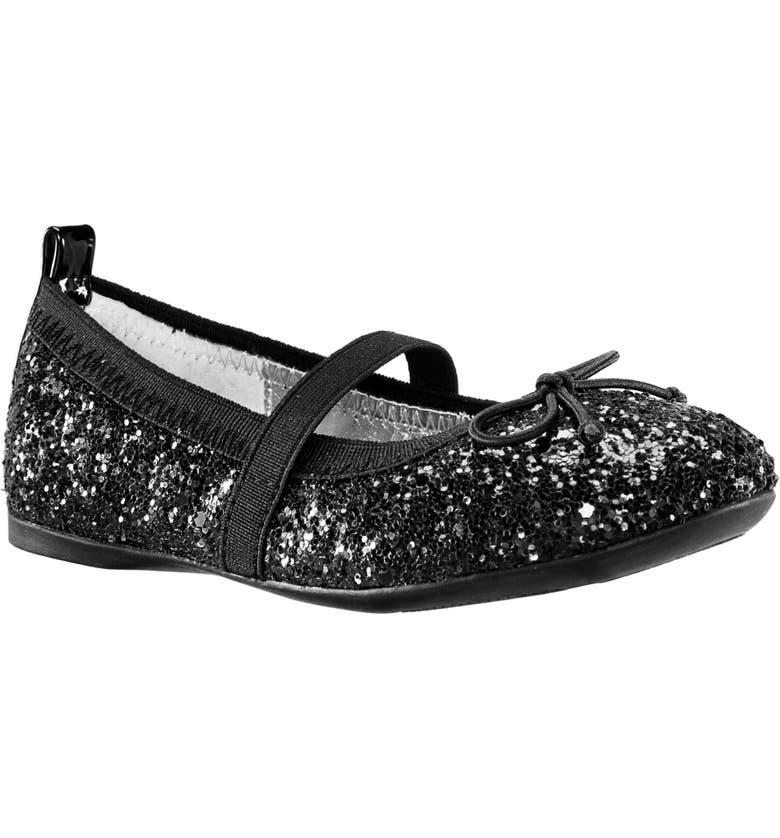 NINA Esther Ballet Flat, Main, color, BLACK CHUNKY GLITTER