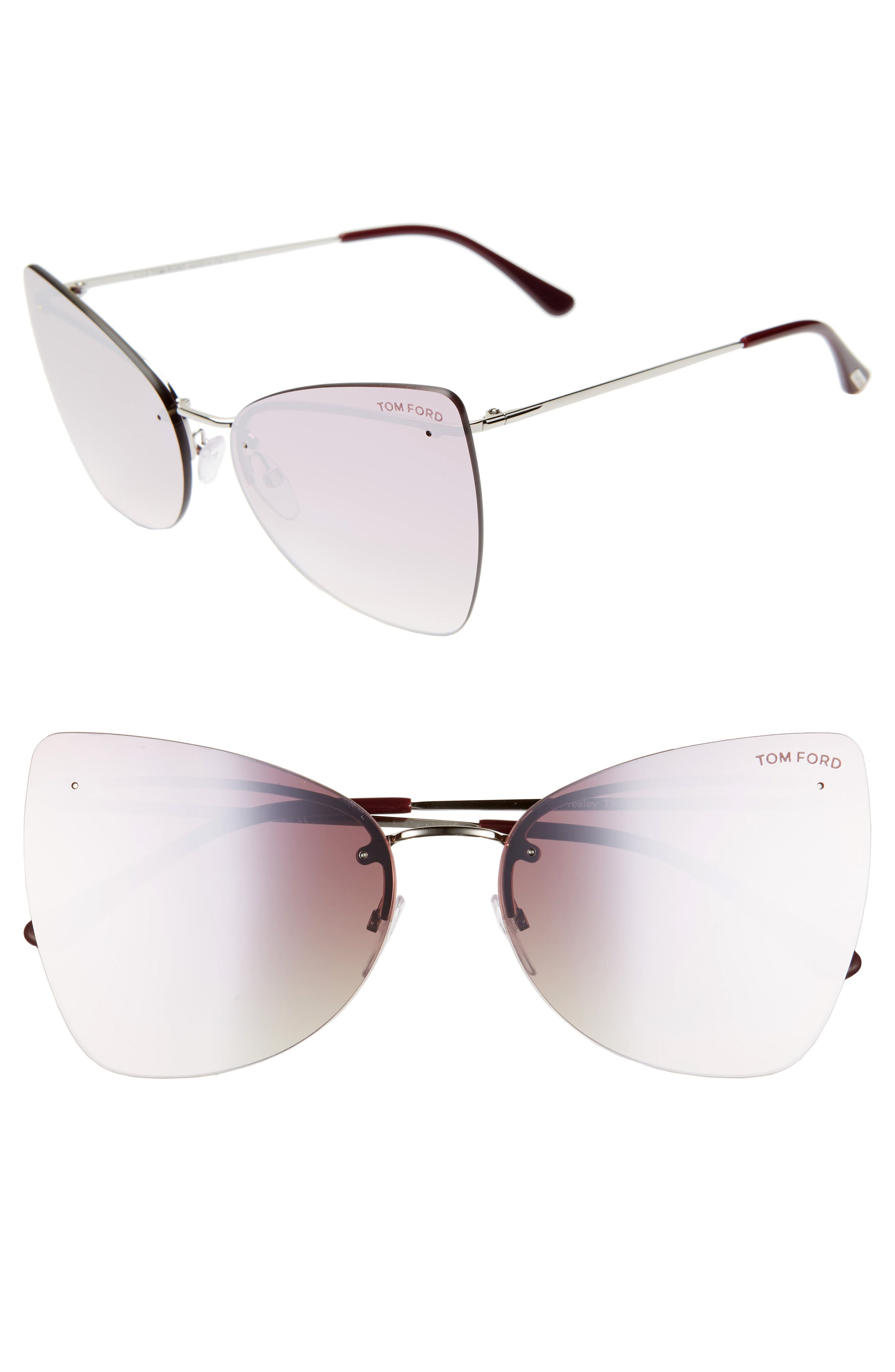 Tom Ford Presley 61Mm Butterfly Sunglasses - Palladium/ Purple/ Red Pearl