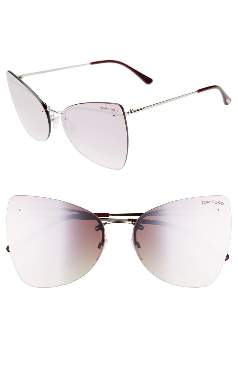 TOM FORD Presley 61mm Butterfly Sunglasses, Main, color, PALLADIUM/ PURPLE/ RED PEARL