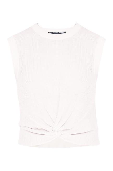 Image of VERONICA BEARD Kellen Sleeveless Twist Front Linen Blend Sweater
