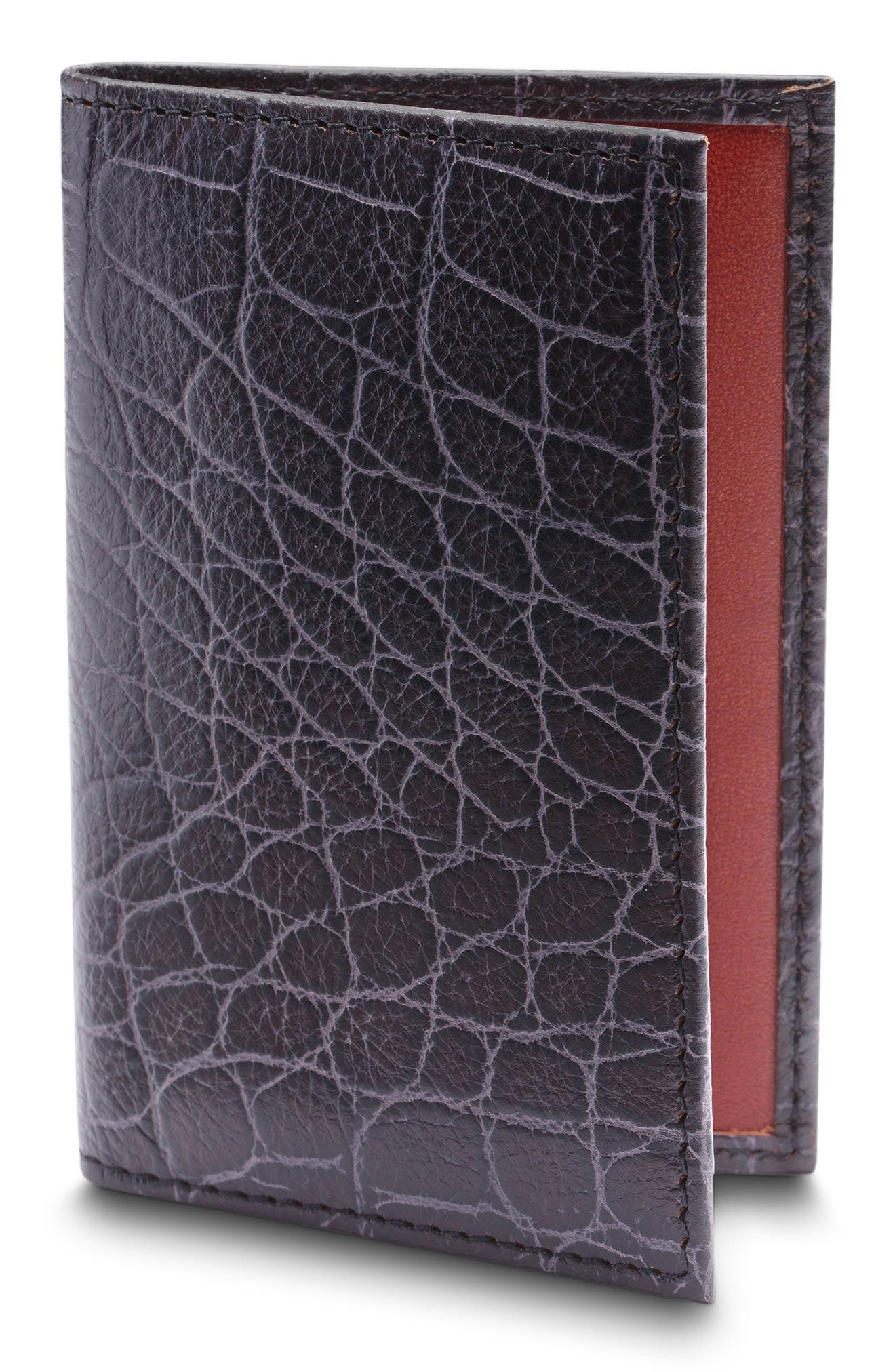Croc Embossed Leather Card Case