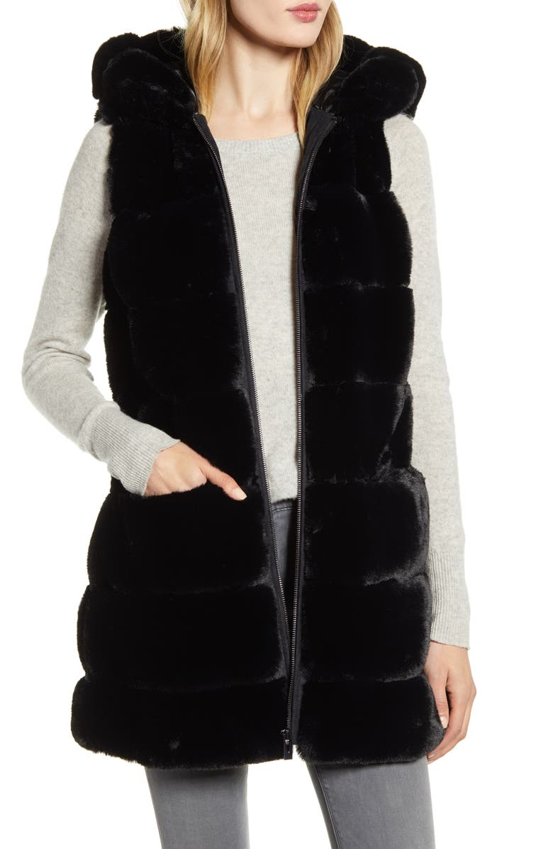 VIA SPIGA Faux Fur Hooded Vest, Main, color, BLACK