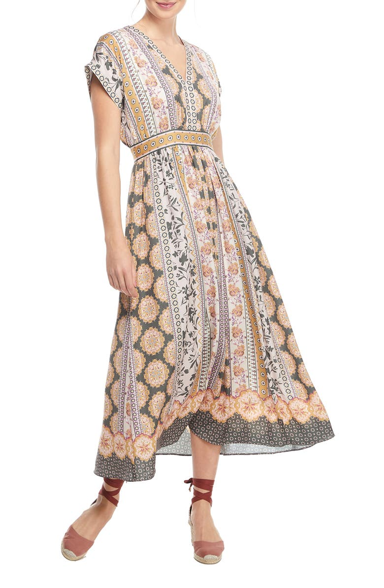 GAL MEETS GLAM COLLECTION Liza Print Charmeuse Dress, Main, color, 300