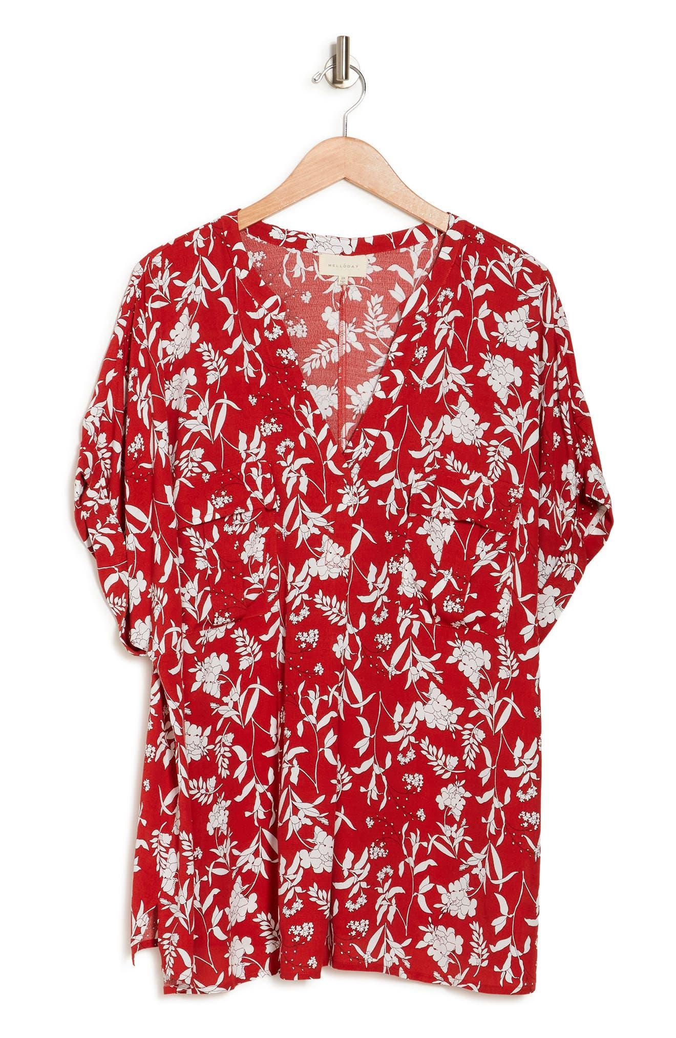 Melloday Utility Shirt In Red/white Print