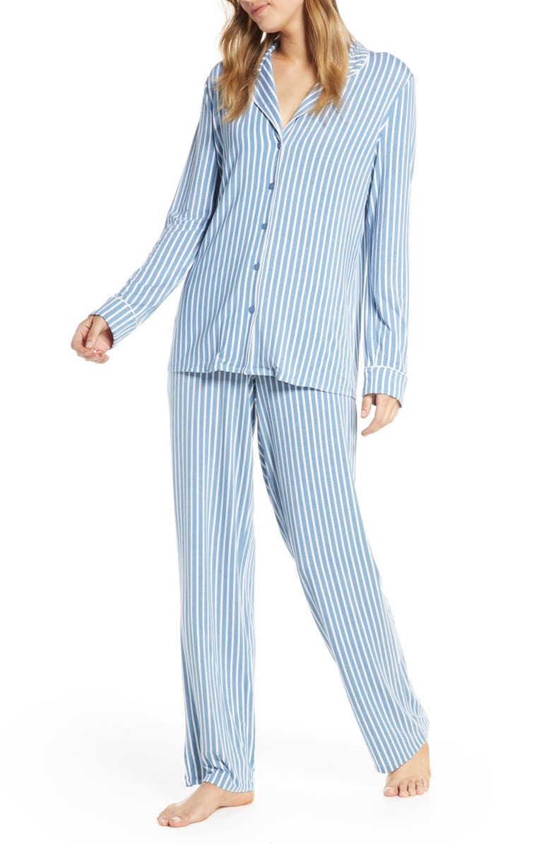 NORDSTROM LINGERIE Moonlight Pajamas, Main, color, BLUE VEIL STRIPE