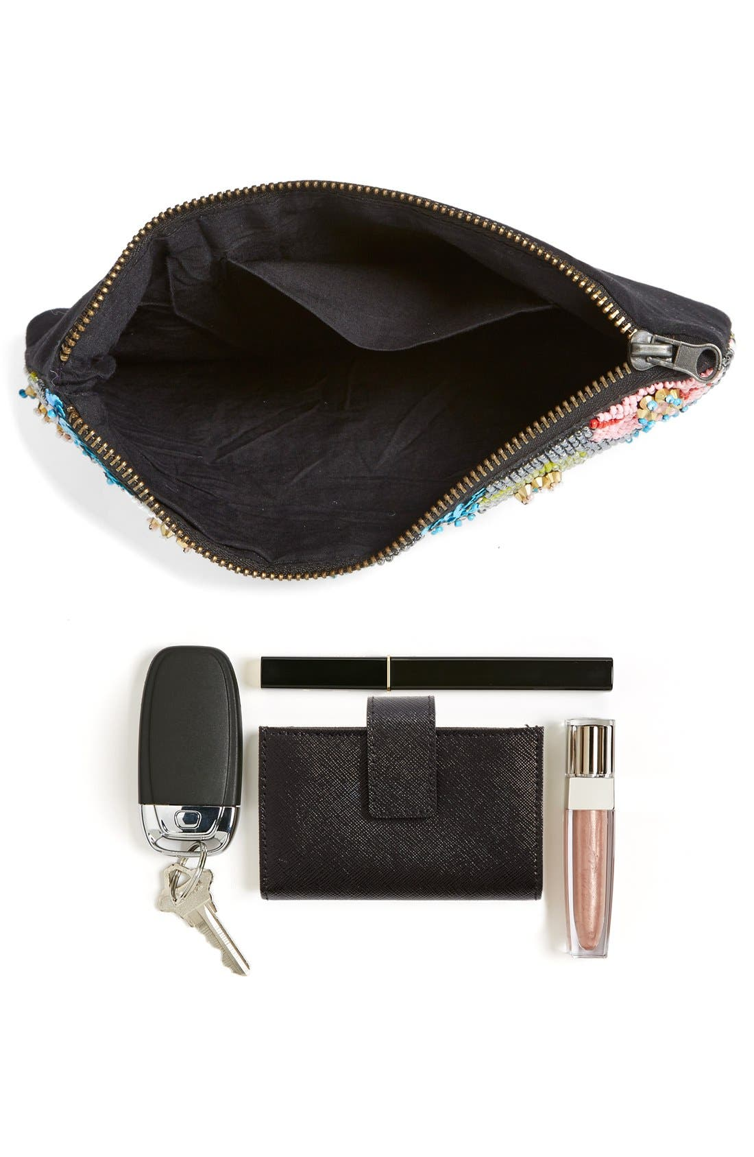 ,                             Natasha Couture Beaded Floral Clutch,                             Alternate thumbnail 4, color,                             650