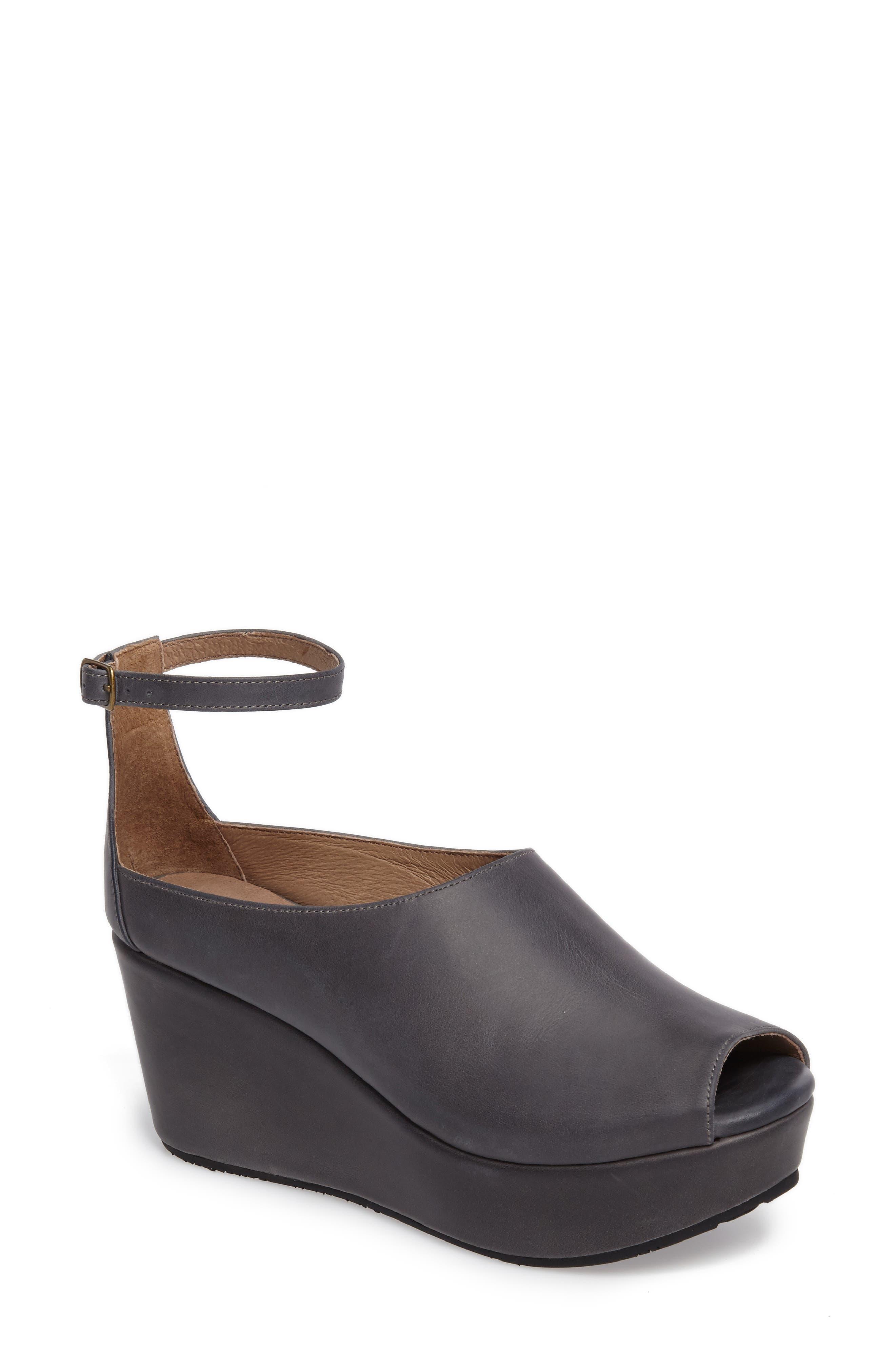 Chocolat Blu Walter Ankle Strap Wedge Sandal- Blue
