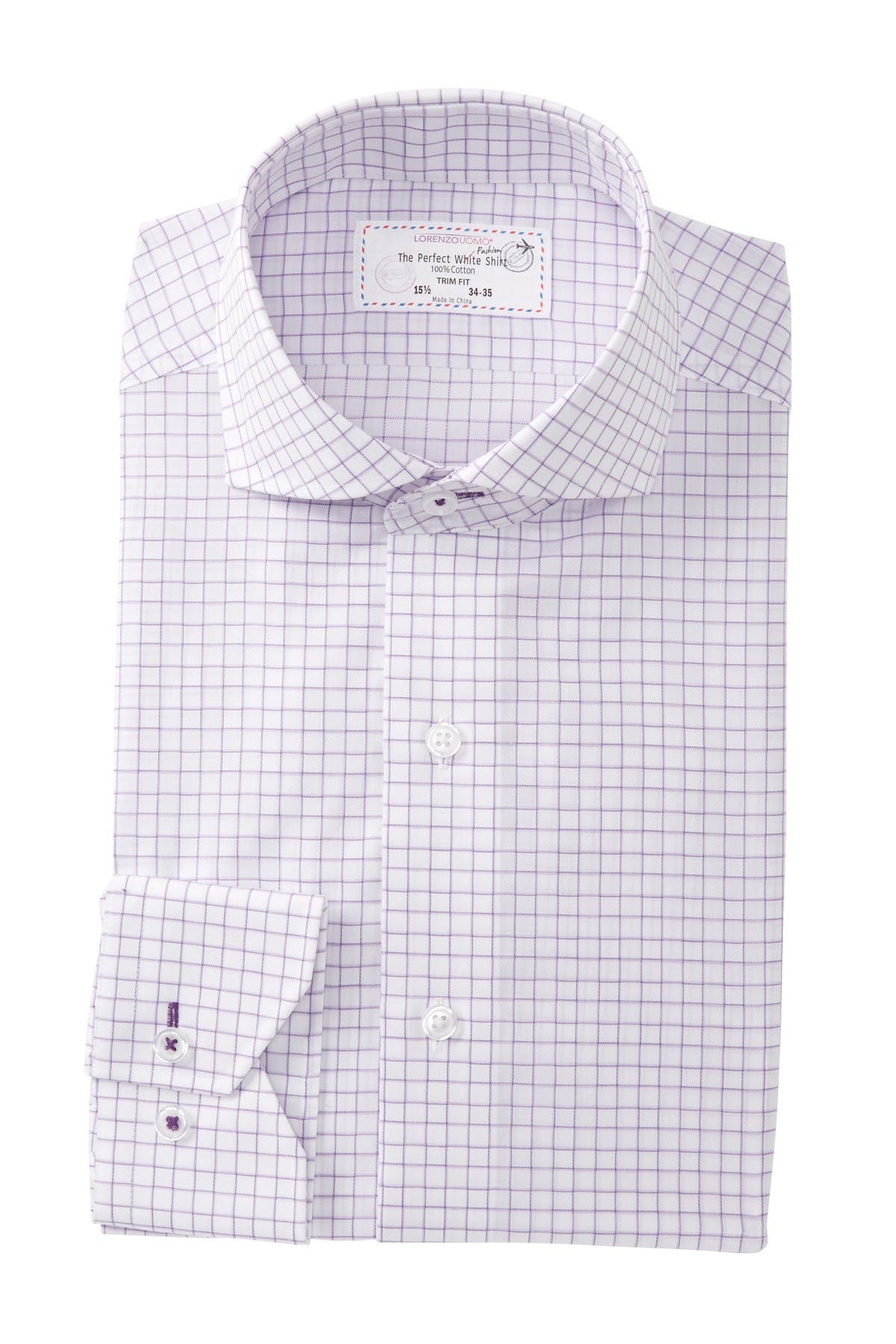 Image of Lorenzo Uomo Windowpane Trim Fit Dress Shirt