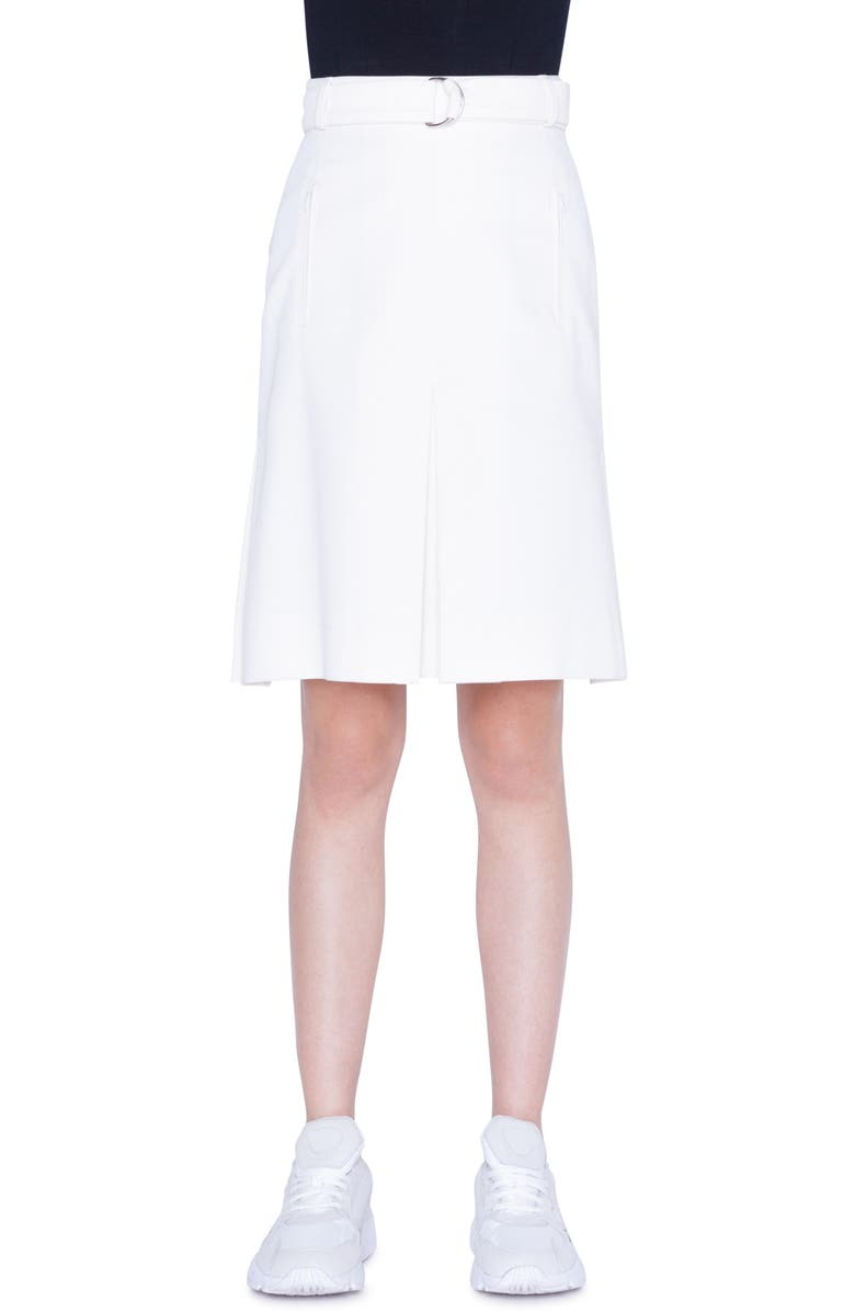 AKRIS PUNTO Belted A-Line Gabardine Skirt, Main, color, CREAM