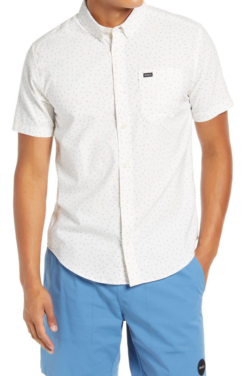 RVCA That'll Do Short Sleeve Button-Down Shirt, Main, color, WHITE MICRO