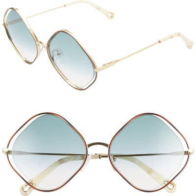 Chloe Poppy 57Mm Diamond Sunglasses - Havana/ Gradient Petrol