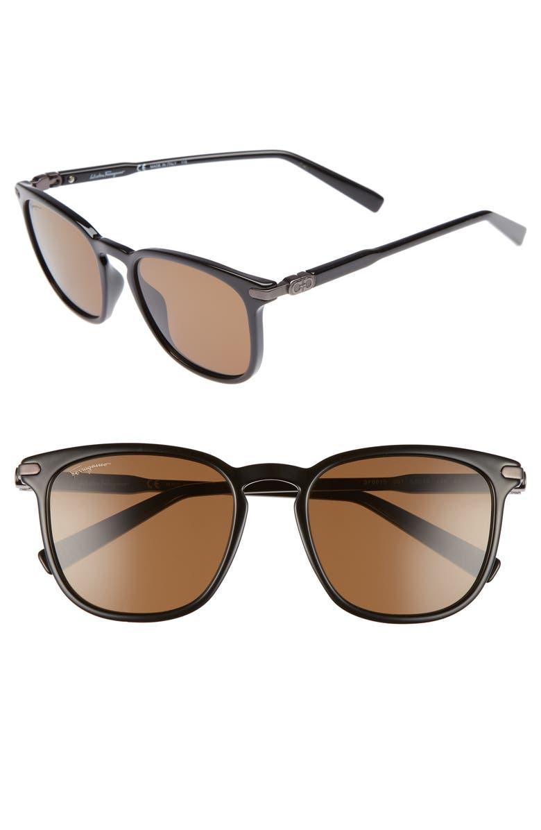 SALVATORE FERRAGAMO Double Gancio 53mm Sunglasses, Main, color, BLACK