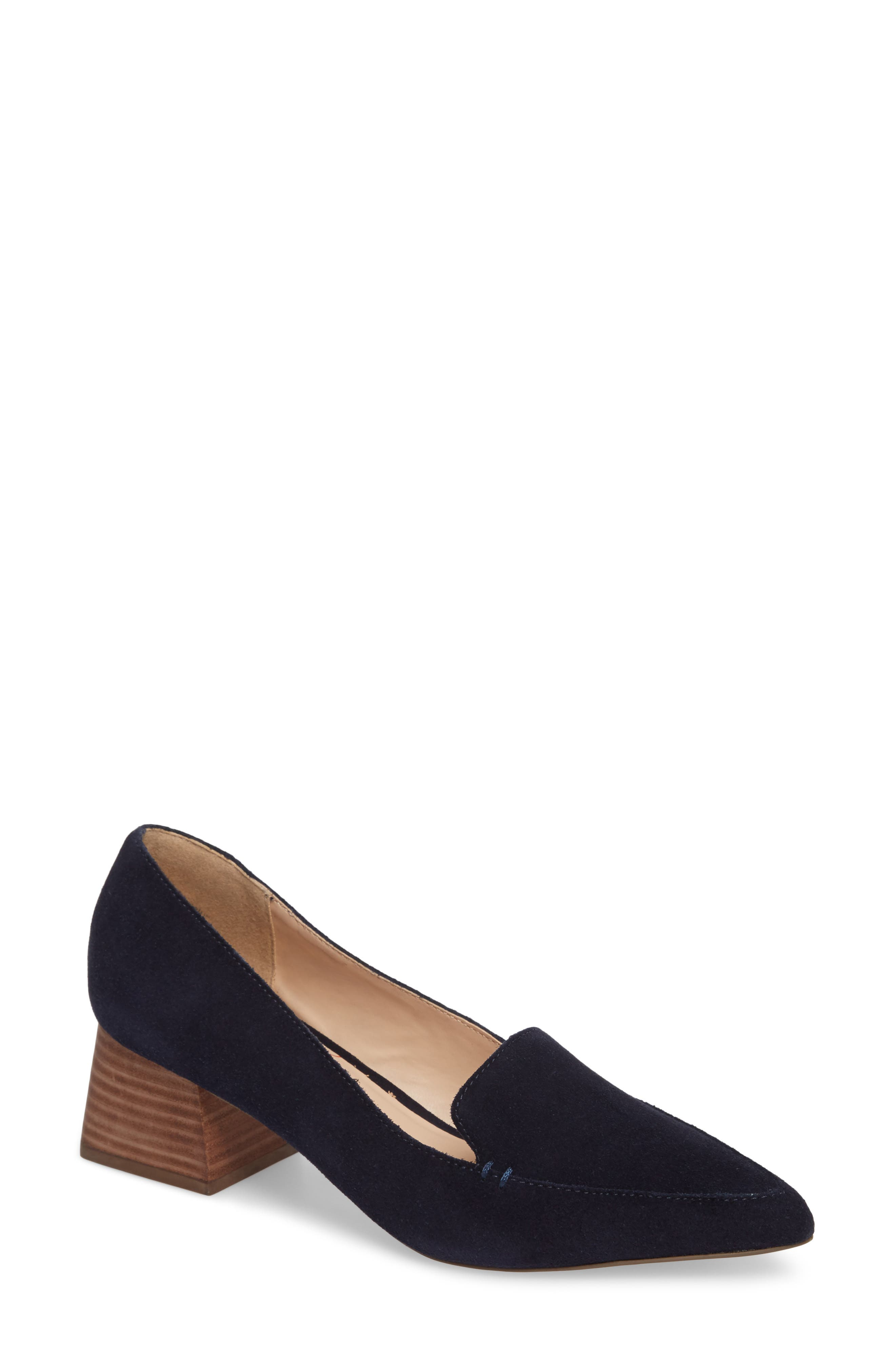 Sole Society Mavis Flare Heel Loafer, Blue