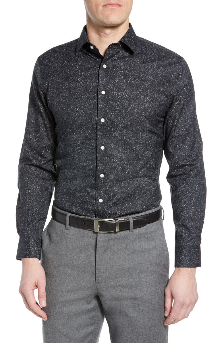 NORDSTROM MEN'S SHOP Trim Fit Non-Iron Dress Shirt, Main, color, BLACK GREY GLITCH STATIC
