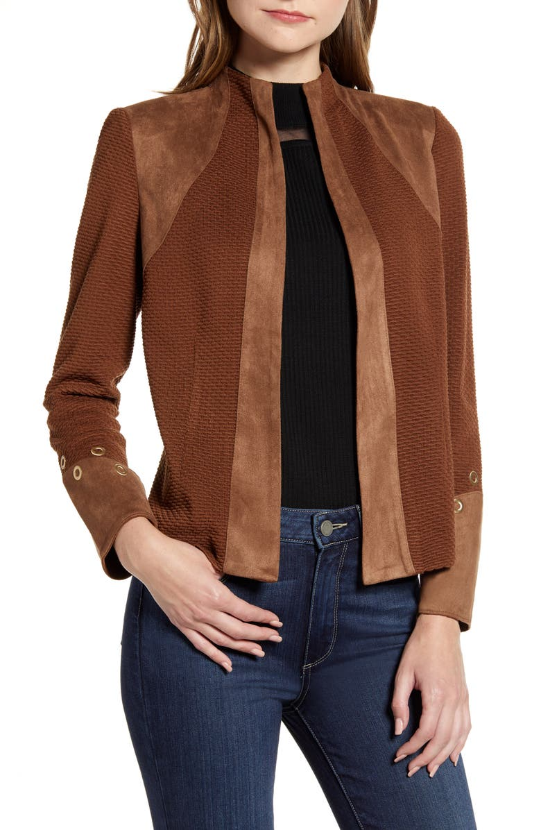 MING WANG Faux Suede Trim Knit Jacket, Main, color, COGNAC