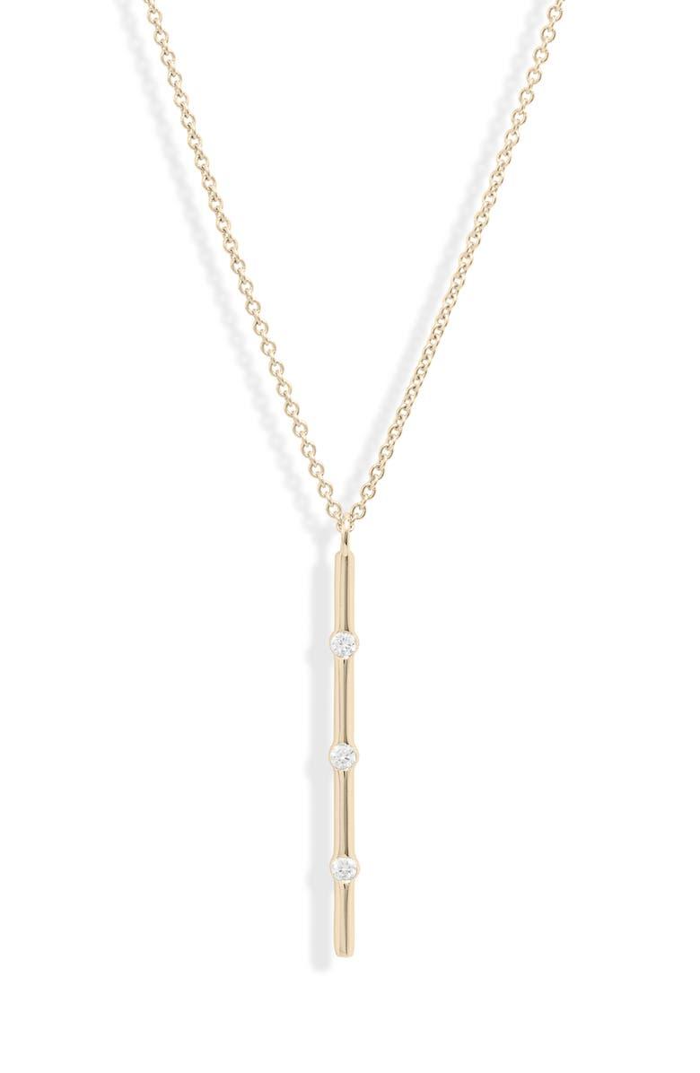 BONY LEVY Ofira Vertical Diamond Bar Pendant Necklace, Main, color, 710