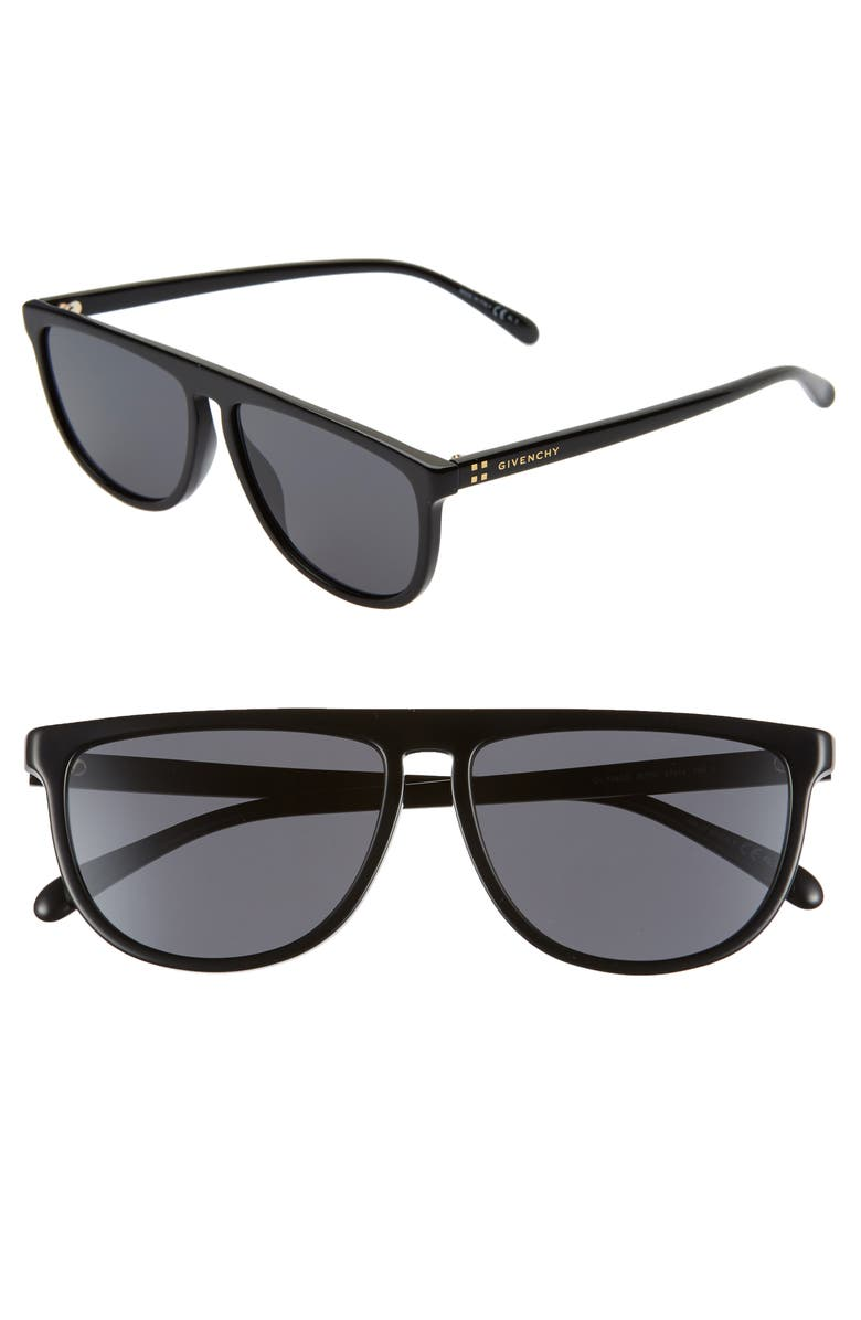 GIVENCHY 57mm Flat Top Sunglasses, Main, color, BLACK/ GREY BLUE