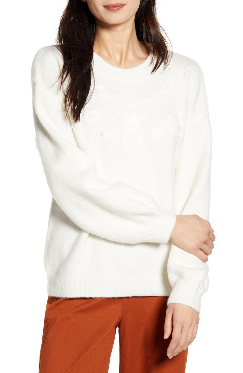 FRNCH Nihel Blouson Sleeve Sweater, Main, color, WHITE
