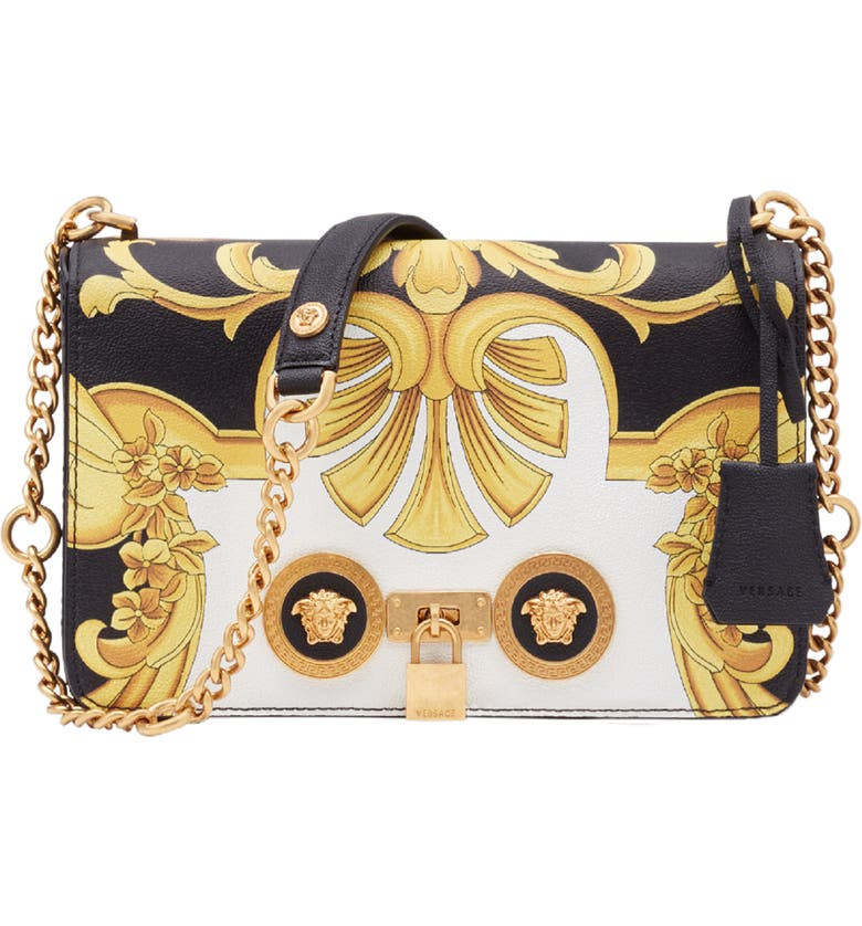 Baroque Print Medium Icon Leather Crossbody Bag by Versace