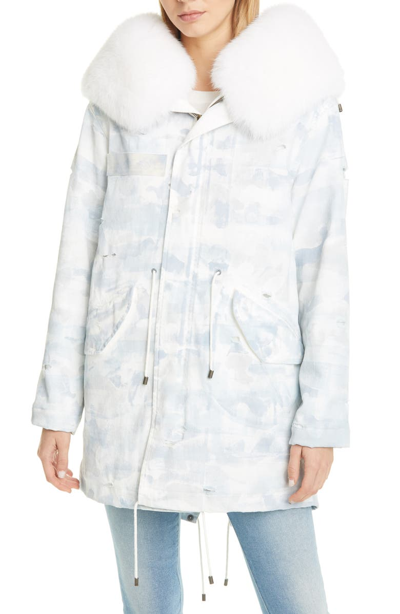 MR & MRS ITALY Distressed Army Jacket with Removable Genuine Fox Fur Trim, Main, color, WHITE