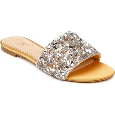 Jewel Badgley Mischka Noland Embellished Slide Sandal, Metallic