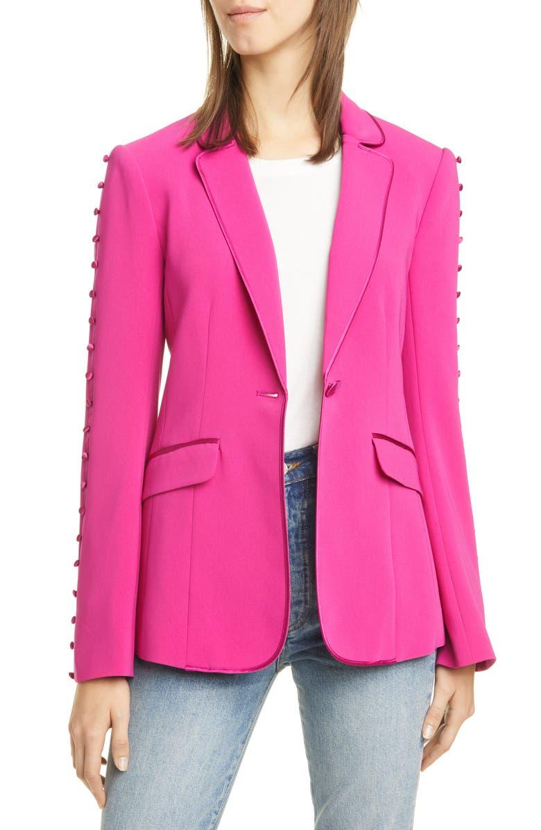 CINQ À SEPT Vivi Button Sleeve Blazer, Main, color, PINK RUBY