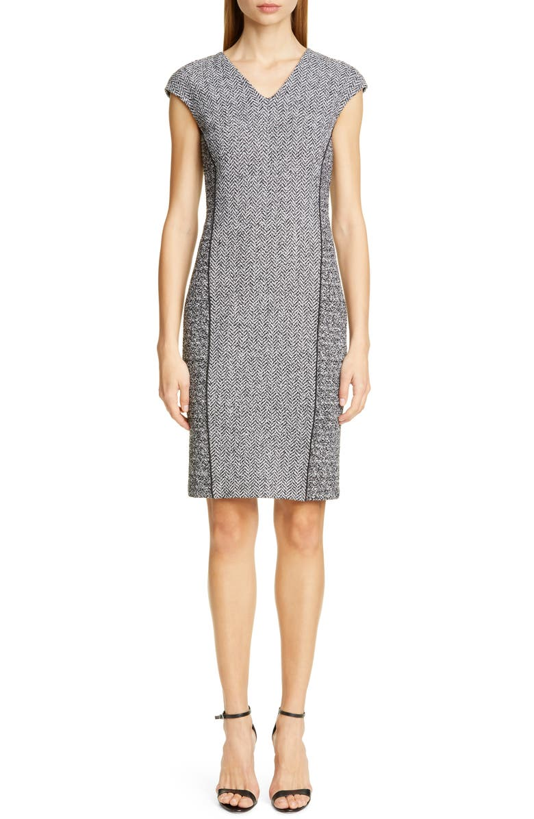 ST. JOHN COLLECTION Abby Bouclé Knit Dress, Main, color, 020