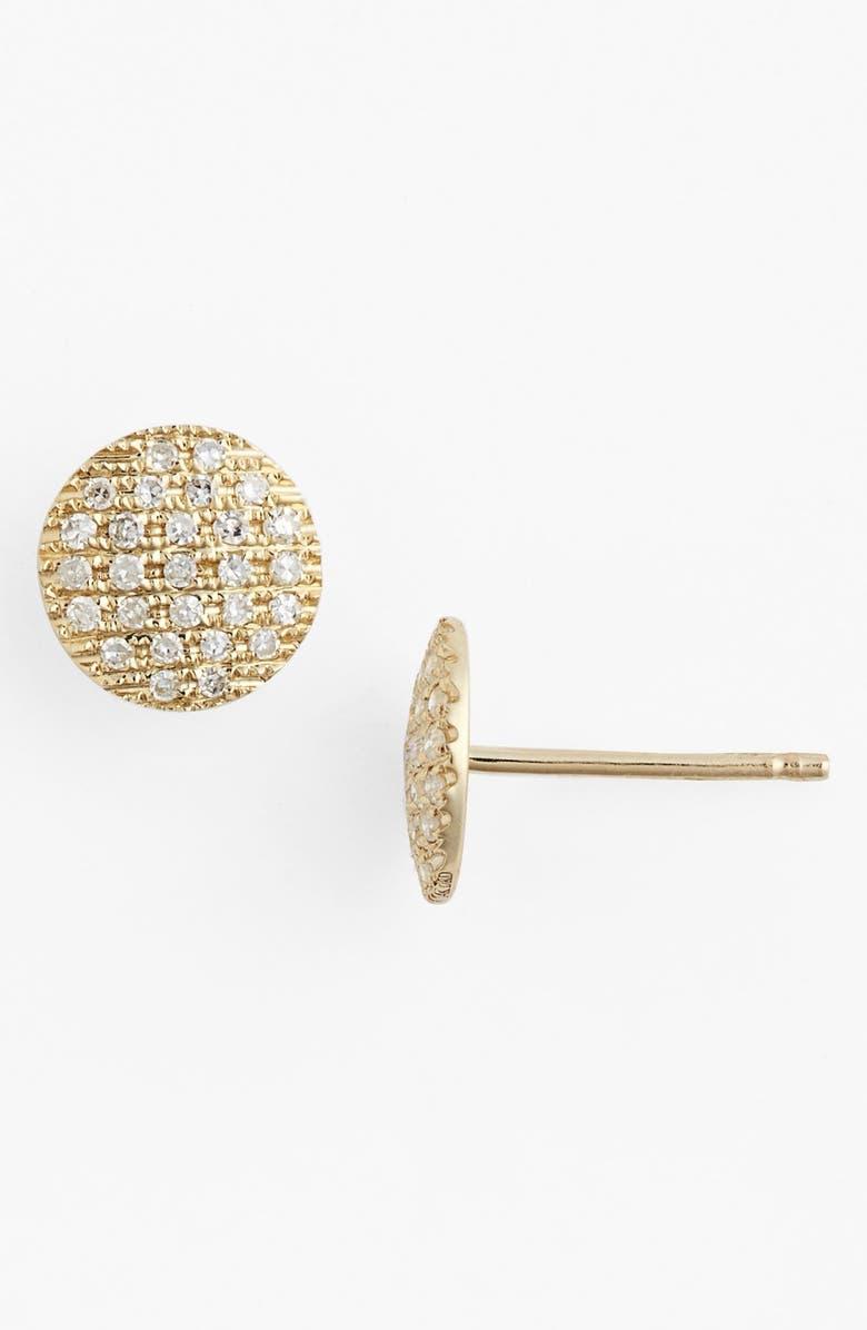 DANA REBECCA DESIGNS 'Lauren Joy' Diamond Disc Stud Earrings, Main, color, YELLOW GOLD