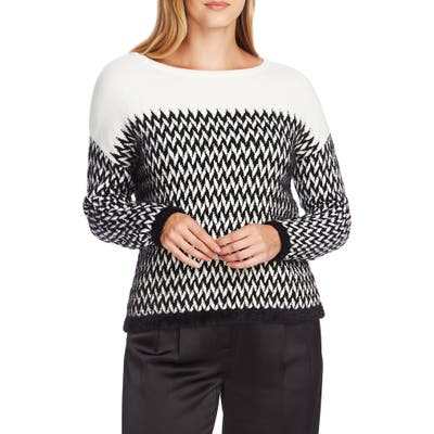Vince Camuto Chevron Eyelash Sweater, Black