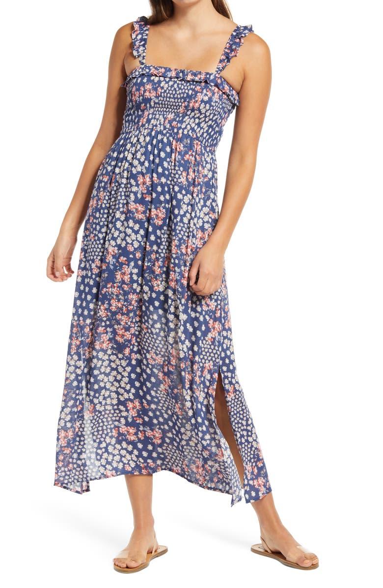 ONE CLOTHING Sleeveless Ruffle Smocked Maxi Sundress, Main, color, 400
